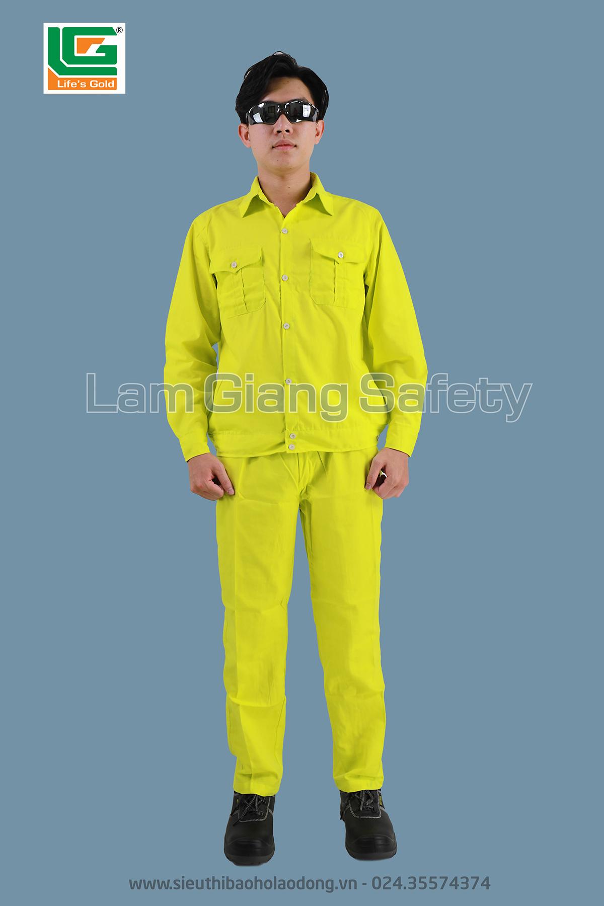 Quần áo bảo hộ màu vàng chanh vải kaki Nam Định