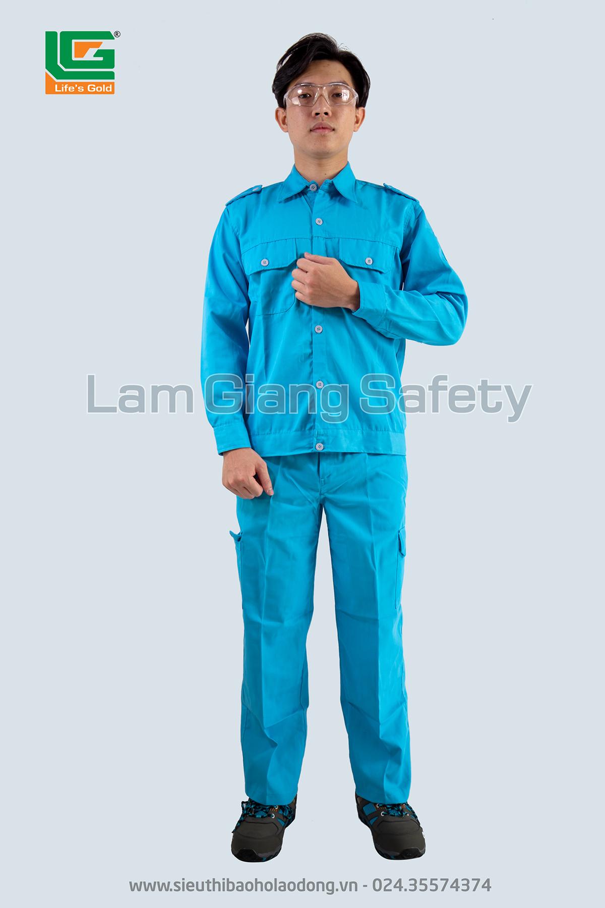 Áo BH cán bộ màu xanh lơ vải kaki HQ