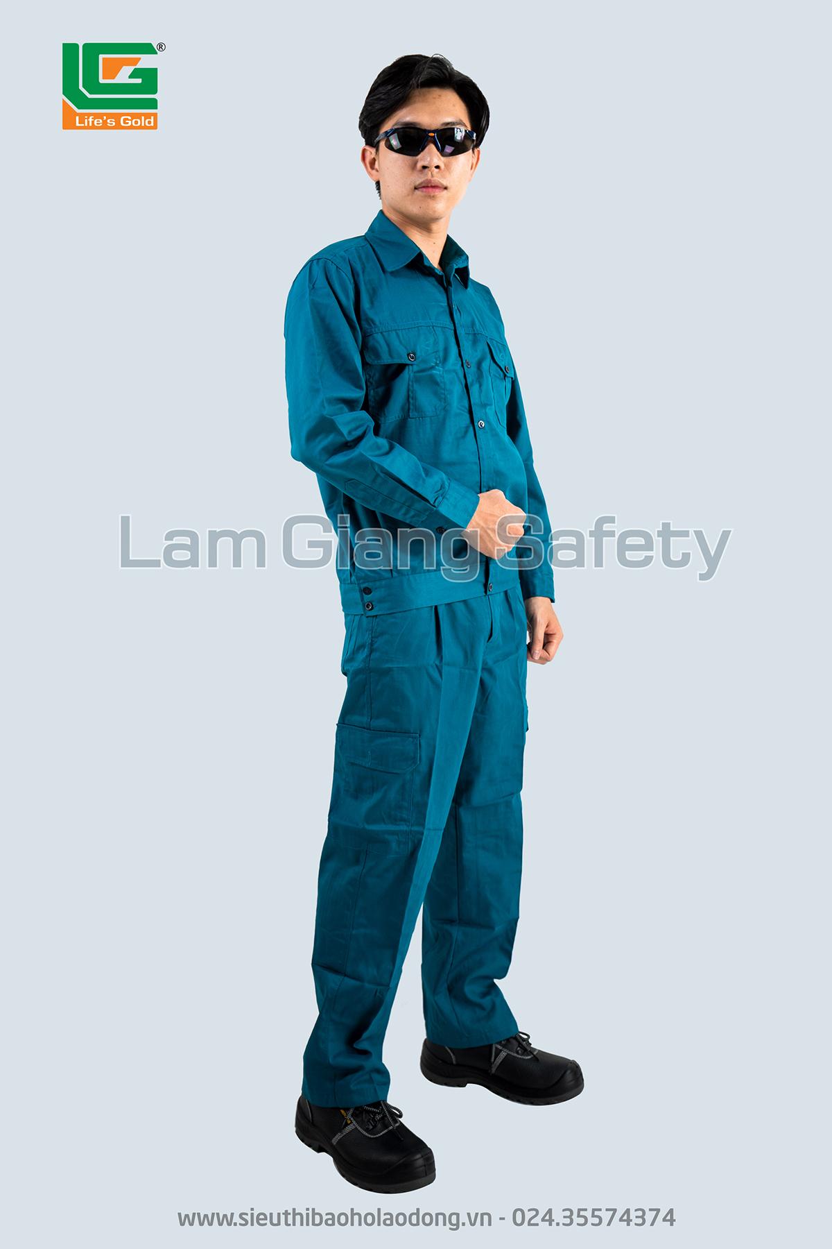 Áo BH công nhân màu xanh LILAMA vải kaki NĐ loại 1
