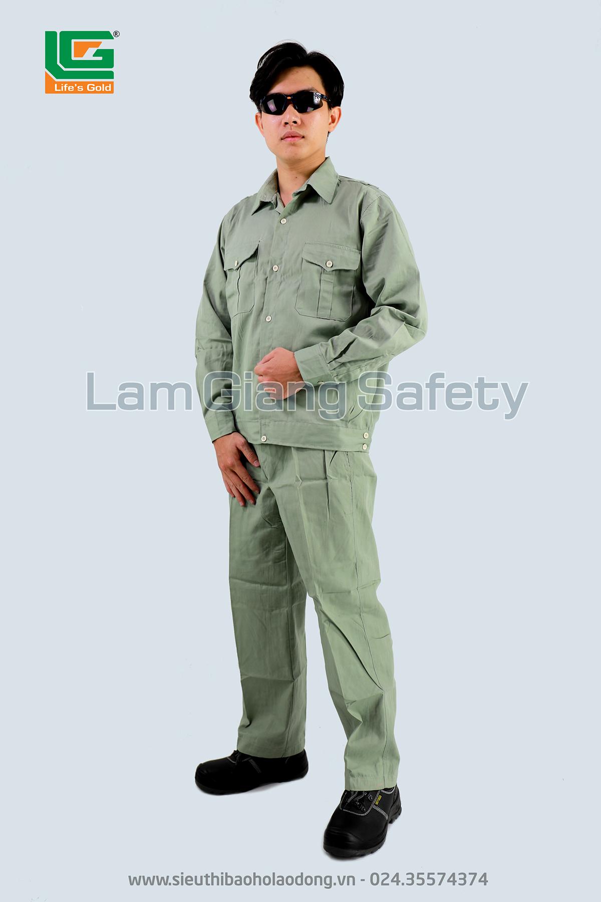 Áo bảo hộ công nhân màu ghi vải kaki Nam Định loại 1