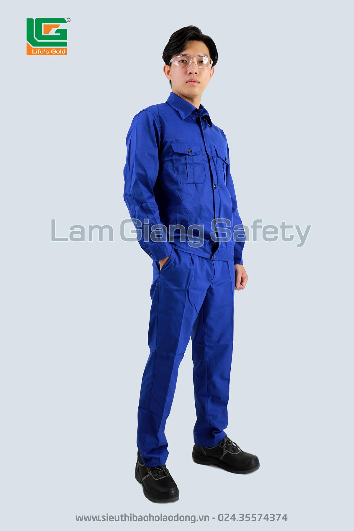 Áo BH công nhân màu xanh vải kaki Nam Định loại 1