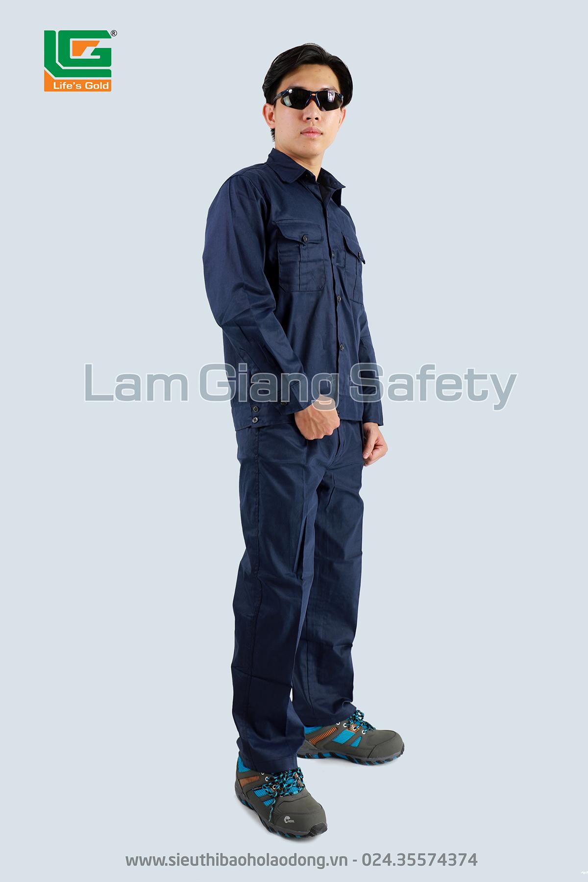 Áo BH công nhân màu tím than vải kaki Nam Định loại 1