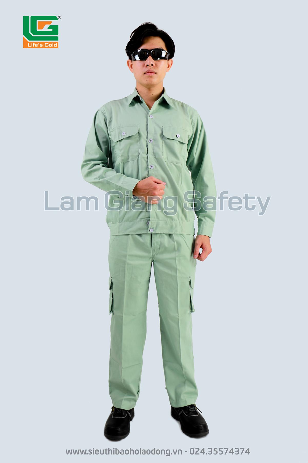Quần áo vải kaki HQ màu ghi ánh xanh