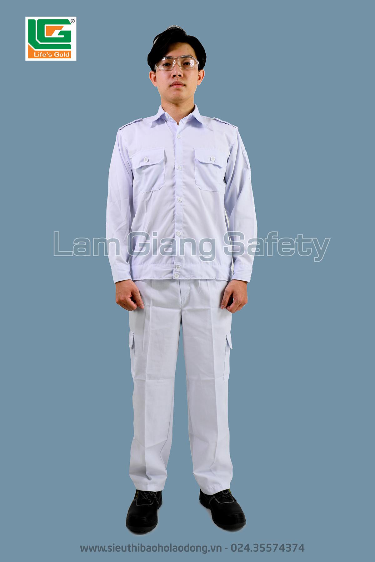 Quần áo vải kaki HQ màu trắng, túi hộp cạp chun