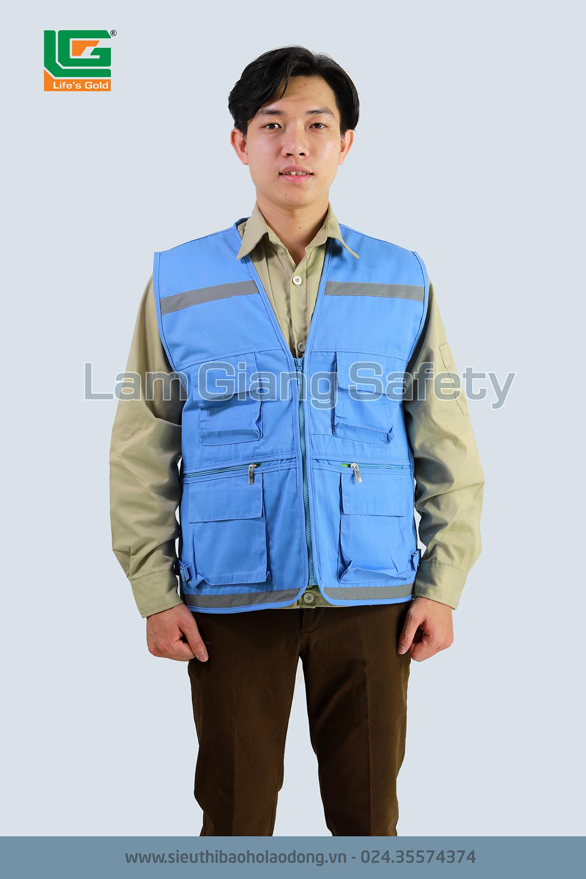 Áo di lê phản quang vải kaki, màu xanh hòa bình